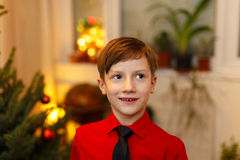 Little boy excited at Christmas Royalty Free Stock Image