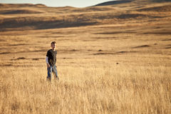 Little boy exploring grasslands Stock Images