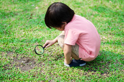Little boy exploring with magnifying glass Royalty Free Stock Images