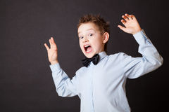 Little boy expressing fear Stock Images