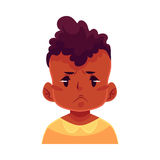 Little boy face, angry facial expression Stock Photo