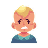 Little boy face, angry facial expression Royalty Free Stock Photo