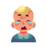 Little boy face, crying facial expression Stock Images