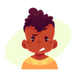 Little boy face, upset, confused facial expression Stock Photo