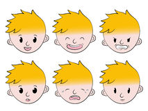 Little boy facial emotions set Stock Photos