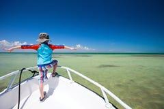 Little boy facing ocean Stock Photos