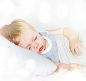 Little Boy with Fair Hair. Sleeping Royalty Free Stock Images