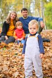 Little boy with family in forest Royalty Free Stock Photos