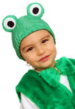 Little boy in fancy dress in the form of frog Stock Image