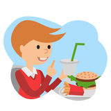 Little boy with fast food in his hands. Boy with fast food in his hands. Vector illustration isolated on white background Stock Image