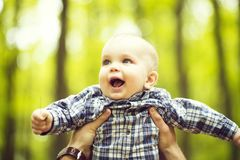 Little boy in father s hands royalty free stock photography