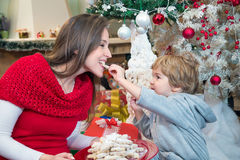 Little boy feeding mother with Christmas cookies. Smiling little boy sitting under Christmas tree and feeding his mother with Christmas cookies stock photos