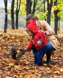 Little boy feeds a squirrel. Little boy with mother feeds a squirrel in a park royalty free stock images
