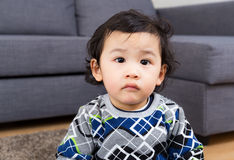 Little boy feel hesitation Stock Photos