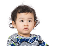 Little boy feel hesitation Stock Image