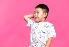 Little boy feeling worry. Asian young little boy royalty free stock photo