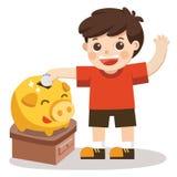 Little Boy felice a soldi di risparmio in porcellino salvadanaio blu Fotografia Stock