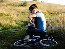 Little boy felt from bicycle Royalty Free Stock Images