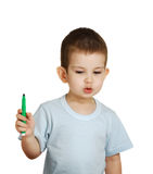 The little boy with a felt-tip pen in a hand Stock Photography