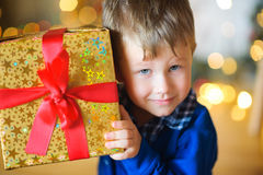 Little boy in a festive interior royalty free stock image