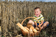 Little boy in a field of corn with a basket of bread Royalty Free Stock Photography
