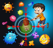 Little boy fighting bacteria Stock Images