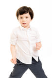 Little boy in a fighting stance Royalty Free Stock Photos
