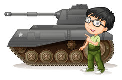 Little boy with fighting tank Stock Photo