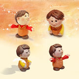 Little boy figure. Handmade little figure made from modeling clay Stock Images