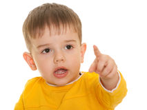 Little boy with fine haircut pointing direction Stock Photography