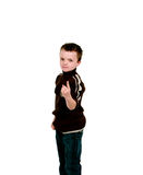 Little boy with finger pointing up Stock Photos