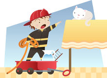 Little boy firefighter Stock Photography