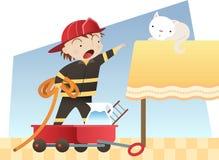 Little boy firefighter. Little boy playing to be a firefighter saving a kitten cartoon illustration Stock Photography