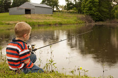Little boy fishing in pond. Boy on farm fishing for catfish in a pond Royalty Free Stock Photos