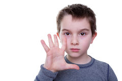 Little boy with five fingers up Stock Photo