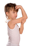 Little boy flexing biceps Royalty Free Stock Photography