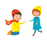 Little boy flower and girl cute children waving hand cartoon character vector. Stock Photography