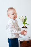 Little boy with a flower in his hand Stock Photography