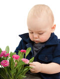 The little boy with flowers Stock Photo