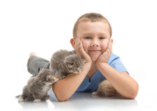 The little boy with a fluffy kitten Stock Photo
