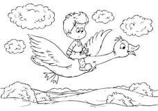 Little boy flying on a goose Stock Photos