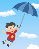 Little Boy Flying with Umbrella Stock Photo