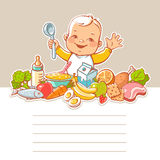 Little boy  with food. Stock Images
