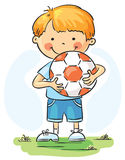 Little boy with football ball Royalty Free Stock Images