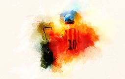 Little boy in football dress with scoop paddle, softly blurred watercolor background. Royalty Free Stock Image