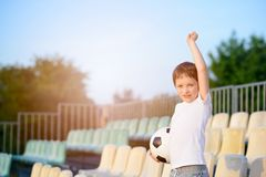 Little boy - football team fan - Royalty Free Stock Photography