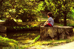 Little boy in a forrest Royalty Free Stock Photography