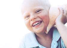 Little Boy Freedom Smiling Beach Relaxing Concept Royalty Free Stock Image