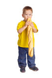 Little boy with french baguette Royalty Free Stock Photo