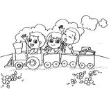 Little boy and friend driving a toy train coloring page vector. Image of Little boy and friend driving a toy train coloring page vector Royalty Free Stock Images